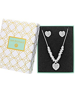 Silver Plated Crystal Pave Heart Set - Gift Boxed
