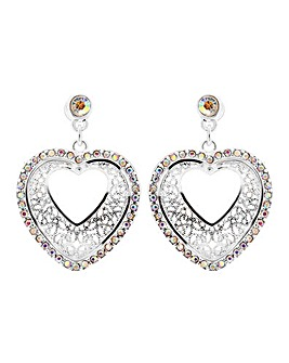 Mood Silver Filigree Heart Drop Earring