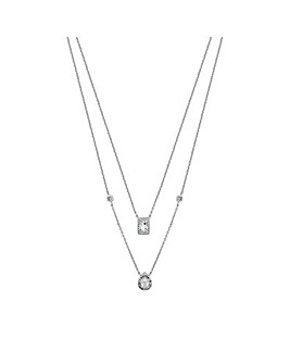 Simply Silver Halo Double Row Necklace