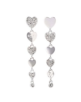 Lipsy Silver Heart Linear Drop Earring