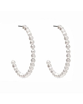 Mood Silver Pearl Hoop Earrings