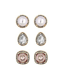 Rose Gold Plated Tonal Stud Earrings - Pack Of 3