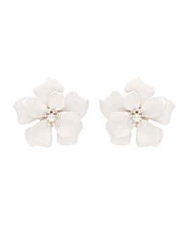 Silver Plated White Flower Stud