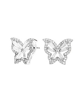 Silver Plated Cubic Zirconia Butterfly Stud Earrings