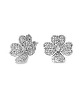 Jon Richard Silver Flower Pave Earrings
