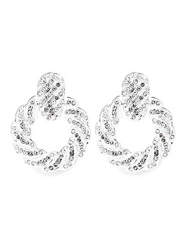 Mood Silver Pave Round Drop Earrings
