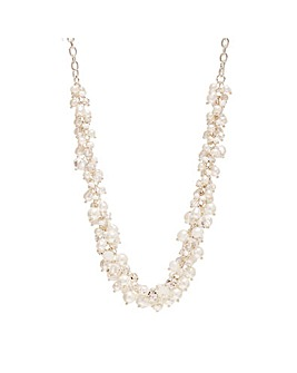 Silver Plated Pearl And Bead Cluster Necklace