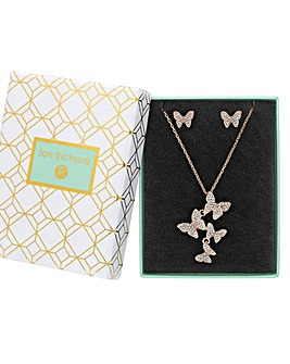 Rose Gold Plated Crystal Pave Butterfly Set - Gift Boxed