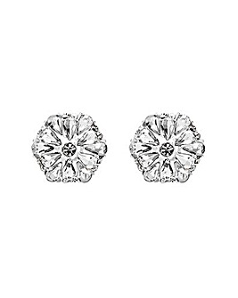 Silver Plated Floral Stud Earrings