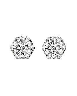 Mood Silver Plated Floral Stud Earrings