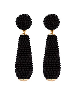 Mood Gold Plated Black Seed Bead Earring