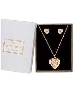 Jon Richard Rose Gold Heart Matching Set