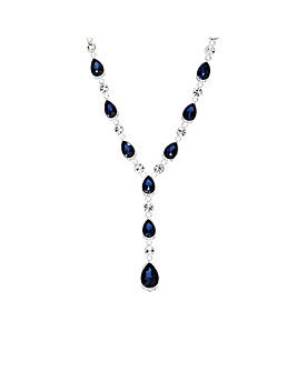 Silver Plated Blue Crystal Pear Necklace