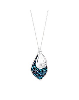 Silver Plated Blue Crystal Rock Pendant Necklace