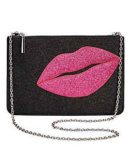 Glitter Lips Clutch Bag