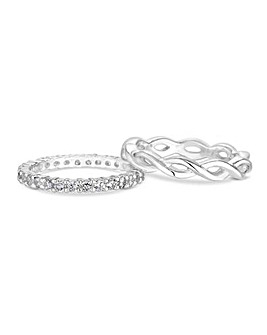Simply Silver Infinity Double Ring Set