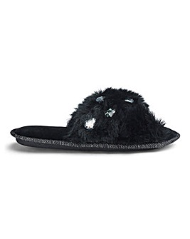 Fluffy Jewel Slider Slipper