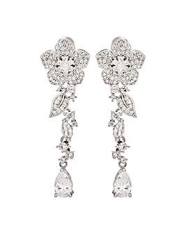 Jon Richard Silver Flower Drop Earrings