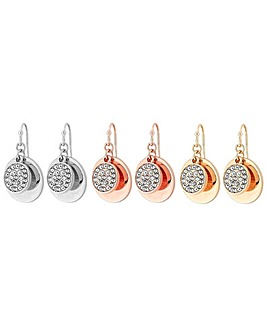Mood Multi-tone 3 Pack Disc Drop Earring