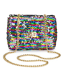 Reversible Sequin Shoulder Bag