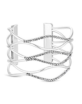 Mood Silver Pave Wave Cuff Bracelet