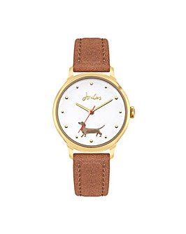 Joules Tan Strap Watch White Dial