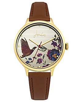 Joules Tan Strap Watch Gold Dial