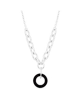 Mood Black Disc Short Pendant Necklace
