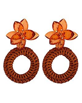 Mood Brown Resin Floral Hoop Earring