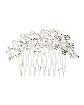 Crystal Pearl Floral Hair Comb
