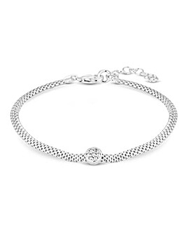Sterling Silver 925 White Cubic Zirconia Disc Mesh Bracelet