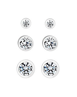 Simply Silver Sterling Silver 925 White Cubic Zirconia 3 Pack Stud Earring
