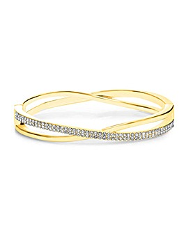 Gold Plated Crystal Cross Over Clamp Bangle