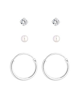 Simply Silver 3 Pack Charmed  Earrings