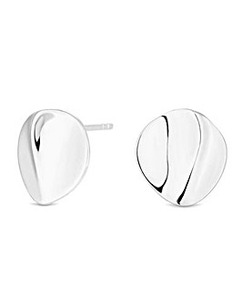 Simply Silver Warped Stud Earrings