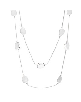 Mood Silver  Nugget Double Row Necklace
