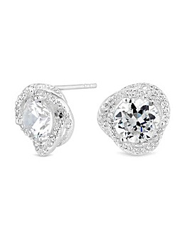Simply Silver Solitaire Knot Earrings