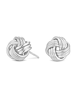 Sterling Silver 925 Polished Rope Knot Stud Earring