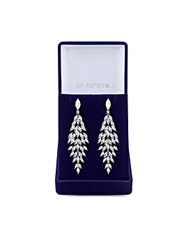 Silver Plated Cubic Zirconia Statement Crystal Navette Earring - Gift Boxed