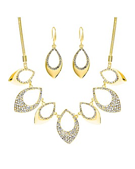 Mood Gold Plated Crystal Pave Shape Set