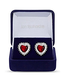 Silver Plated Ruby Red Cubic Zirconia Heart Stud Earring - Gift Boxed
