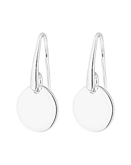Simply Silver Polished Disc Drop Earring