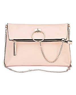 Pink Ring Detail Foldover Bag