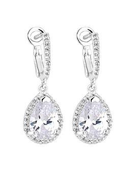 Simply Silver Halo Drop Earrings