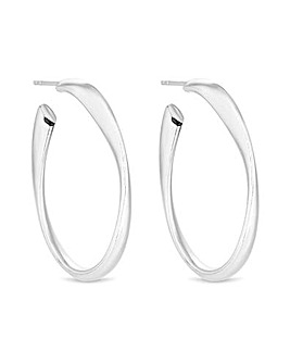 Simply Silver Oval Wavy Hoop Earrings