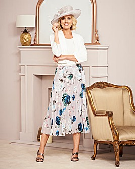 Nightingales Print Pleated Skirt