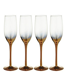 Gold Ombre Champagne Flutes Set of 4