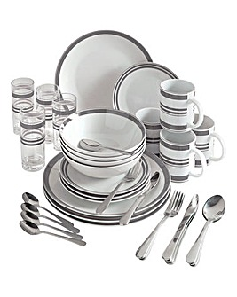36-Piece Bistro Stripe Combo Dinner Set
