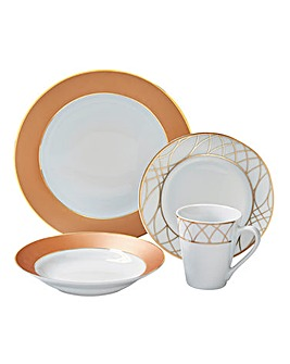 12-Piece Rose Gold Dinner Set