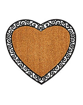 Heart Rubber and Coir Door Mat